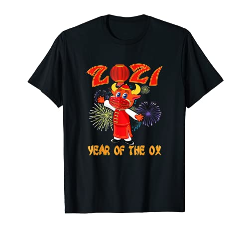 Año Nuevo del zodiaco chino de la máscara del buey 2021 horóscopo decoración Camiseta