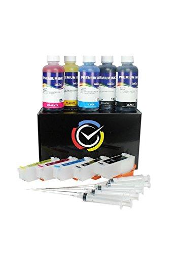 Cartucce Ricaricabili per Epson con 500ml inchiostro di altà qualità Inktec serie 26/26XL T2601, T2611, T2612, T2613, T2614 e stampanti Epson Expression Premium XP-600