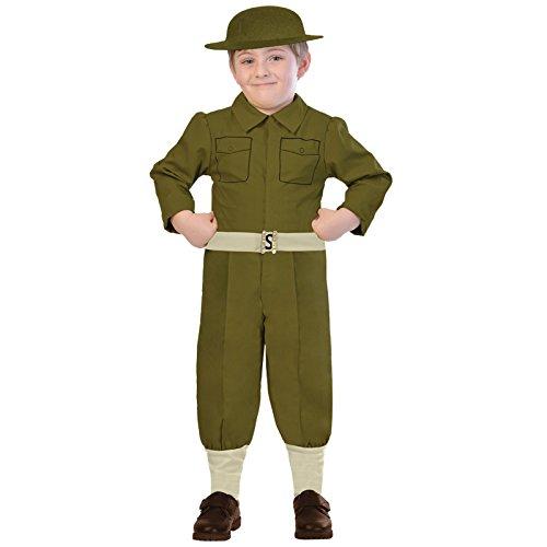 amscan 9903592 - Disfraz de soldado de la WW1 verde con casco a juego, edad 7-8 aos, 1 pieza