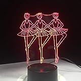 Sinfonía Tres Bailarinas Chicas Bailando Noche luz Color Intermitente Novedad lámpara de Mesa niños mesita de Noche decoración
