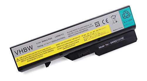 vhbw battery suitable for IBM/Lenovo IdeaPad V470, V470A, V470A-IFI, V470G, V470P, V570, V570A, V570G laptop (6600mAh, 11.1V, Li-Ion, black)