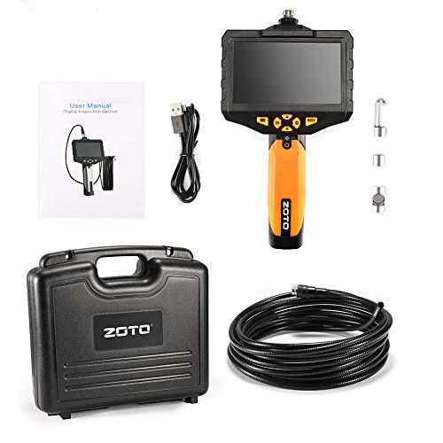 ZOTO Endoscope Industriel, 1080P Full HD 4,5 Pouces IPS LCD Numérique Camera Endoscopique, 7mm Semi-Rigide du Tube 2600mAh Batterie de 32G Mémoire DVR Imperméable Caméra Inspection (5M)