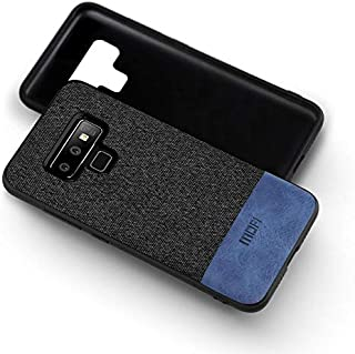 MOFI Samsung Galaxy Note 9 Case, Black fabric, and Blue Leather