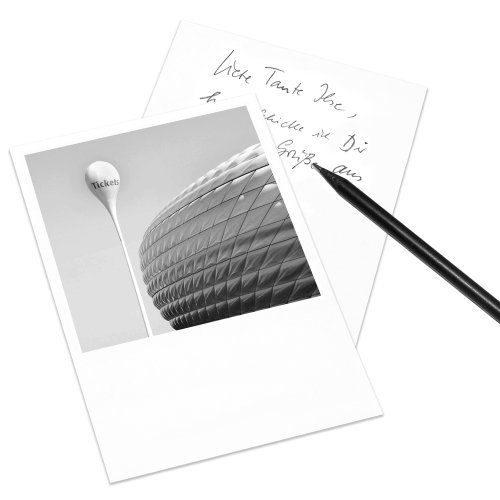 10er-Set Postkarte München im Polaroid-Look - DIN A6 Hochformat - Motiv: Allianz-Arena