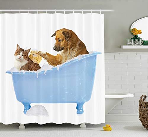 Cortina de ducha para gatos,perro gatito en la bañera,juntos,burbujas,champú,ducha,estampado divertido,tela de tela,juego de decoración para baño,blanco,azul,con 12 ganchos de plástico de 180x180 cm