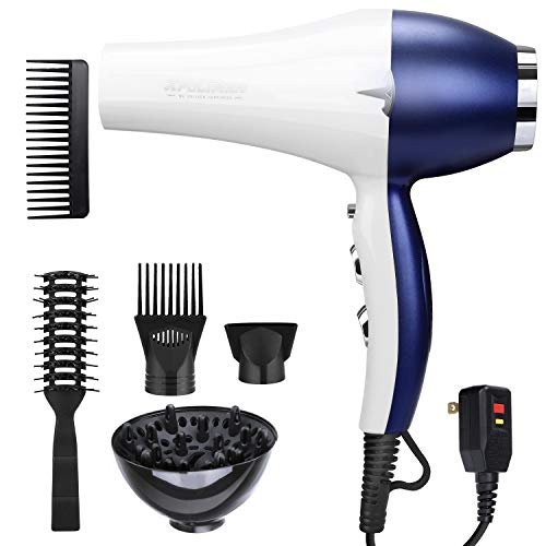 Light Weight Salon Hair Blow Dryer 2000W Low Noise with Powerful Professional Hair Dryer Negative Ionic Ceramic Technology, Quick Drying with AC Motor,2 Speed 3 Heat Settings and Cool Button-WhiteBlue
