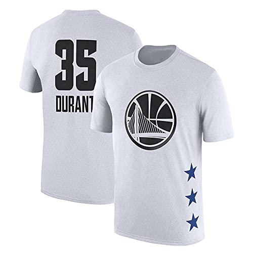 Uniformes De Baloncesto para Hombre, Golden State Warriors # 35 Kevin Durant NBA Basketball Jerseys Tops Sueltos Camiseta Casual De Manga Corta Chalecos,Blanco,L(170~175CM)