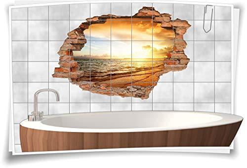 BxH Fliesenma/ß: 10x10cm BxH GRAZDesign Fliesenaufkleber EIS-B/är//Meer f/ür Kacheln Wand-Deko f/ür Bad//K/üchen-Fliesen ////Bild: 105x70cm