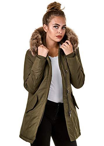 Burocs Damen Jacke Parka Winterjacke Kunstfellkapuze Schwarz Khaki BR1828-05, Größe:S, Farbe:Khaki