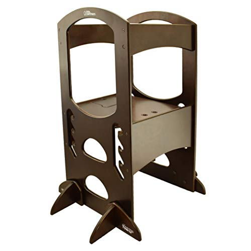 Little Partners' Kids Learning Tower – Child Kitchen Helper Adjustable Height Step Stool, Wooden Frame, Counter Step-Up Active Standing Tower (Espresso)