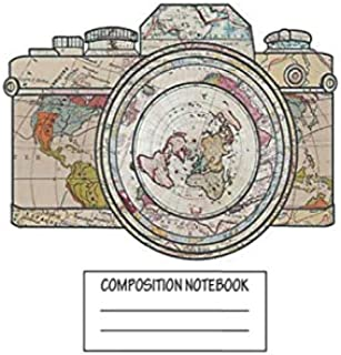 """Notebook: Map Of The World On Camera , Journal for Writing, Size 6"""" x 9"""", 164 Pages"""