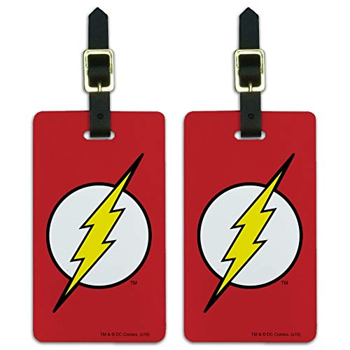 The Flash Lightning Bolt Logo Luggage ID Tags Suitcase Carry-On Cards - Set of 2