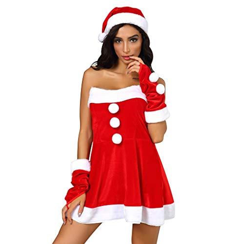 Kviklo Frauen Weihnachten Party Cosplay Minikleid Patchwork Abendkostüme Gr. XXX-Large, Rot 3