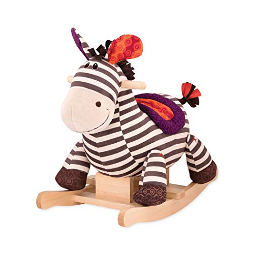 B Toys – Kazoo Wooden Rocking Zebra – Rodeo Rocker – BPA Free Plush Ride On Zebra Rocking Horse for Toddlers and Babies 18m+ (Renewed)