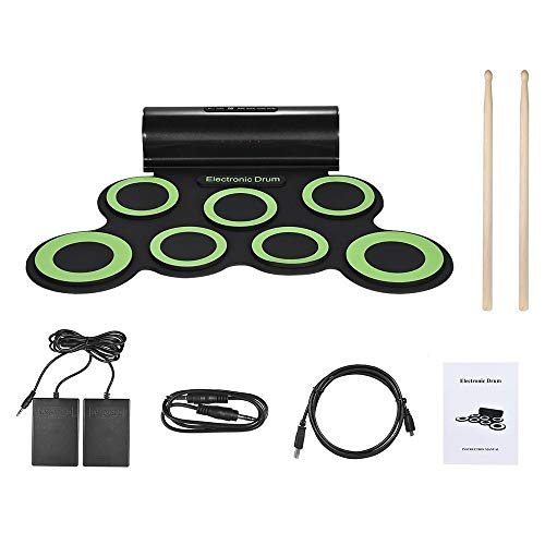 Lowest Price! Roll Up Drum Kit, Roll Up Drum Kit Support DTX Game 7 Silicon Pads Practice MIDI Elect...