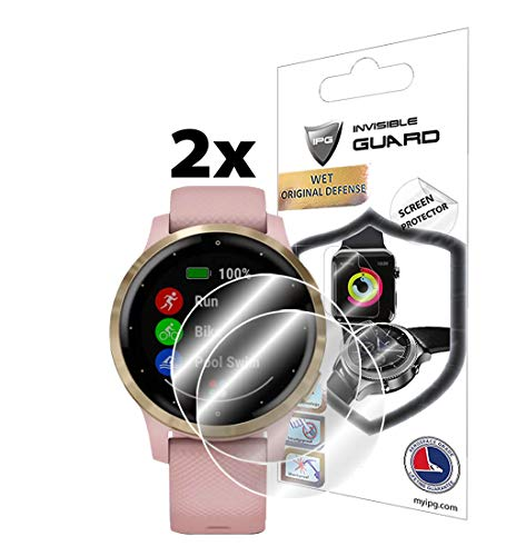 IPG for Garmin vívoactive 4S Smartwatch Screen Protector (2 Units) Invisible Ultra HD Clear Film Anti Scratch Skin Guard - Smooth/Self-Healing/Bubble -Free