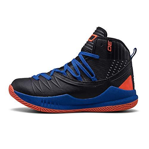 Zapatillas de Baloncesto para Hombre de Alta Resistencia al Desgaste Transpirable Aumentar Zapatillas Negro Azul Naranja 41
