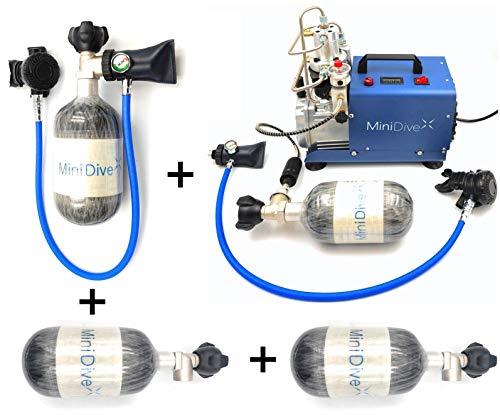 Equipo de Buceo Mini Tanque Carbono 15-20 Minutos de Autonomía I Kit con Compresor Eléctrico I Cilindros de Oxígeno Buceo I Unisex