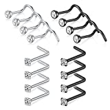 D.Bella Nose Studs for Men, 20G Black Nose Rings Studs 316L Stainless Steel Nose Ring Screws for Body Piercing Jewelry