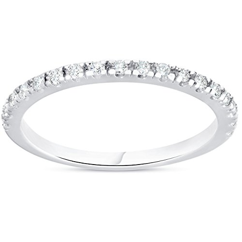 1/4ct Diamond Ring Stackable Engagement Womens Wedding Band 10K White Gold - Size 8