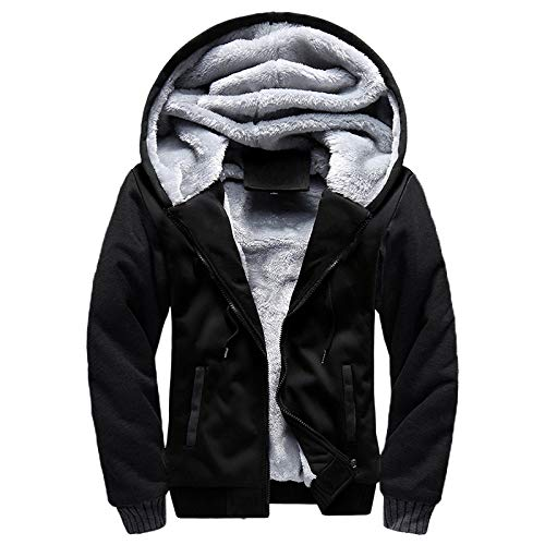Generic Jacke Winter New Sports Herren Einfarbig Dicker Pullover Plus Samt ReißVerschluss Strickjacke Fight Color Kapuzenjacke Herren