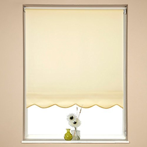 Speedy Plain UV Scalloped Edge Roller Blind, Cream, W180 x D160cm