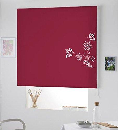 Regalos Originales - PERSIANA Estor Enrollable TRANSLUCIDO Juvenil con Dibujo Pareja Mariposas/Estor para Salon Dormitorio HOGAR (120x175, Rojo Burdeos)