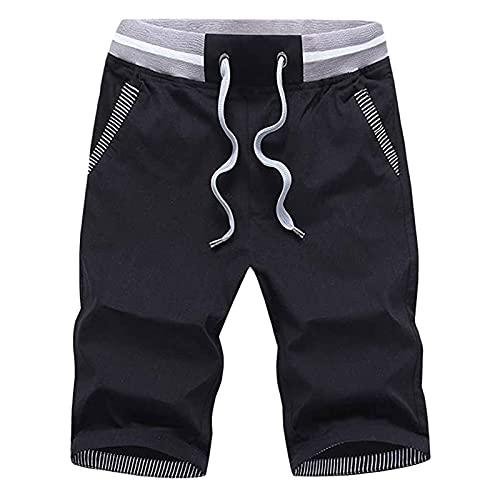 KIMODO Bermuda Shorts Jogginghose Kurze Hosen mit Elastisch Lässige Sport Casual Sommer Erfrischungsshorts Sporthose Baggy Haremshose (A-Schwarz, L)