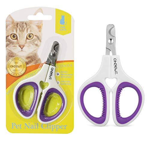 OneCut Pet Nail Clippers, Update Version Cat & Kitten Claw Nail Clippers for Trimming, Professional Pet Nail Clippers Best for a Cat, Puppy, Kitten & Small Dog (Purpple)