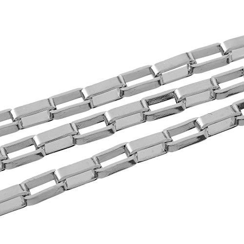 2m x Silberton 304 Edelstahl 2.4 x 5mm Öffnen Box Kette CH2065 (Charming Beads)