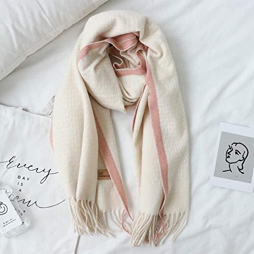 ZAMi Temperament Unifarbene Bordüre Übergroße Quaste Wilder, zweifach verwendbarer Schal, cremefarbener rosa Rand