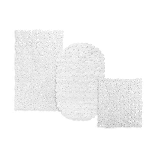 casa pura Tapis de Fond de Bain Bubble Blanc antidérapant   pour Douche, 3 Tailles   sans PVC/Latex, antiglisse   68x36cm (Ovale)