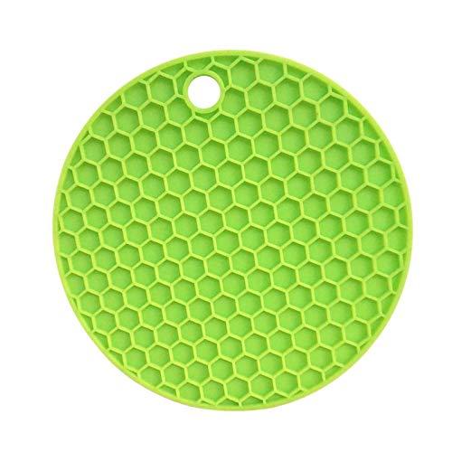 YuuHeeER Posavasos multiusos de silicona con diseño de panal plegable y antideslizante, color verde