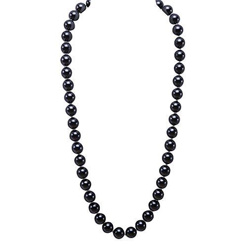 JYX Perlenkette Echte 12 mm Schwarz Südsee Muschel Perlen Halskette für Damen 70 cm