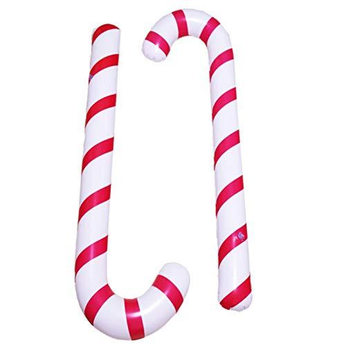 Tebinzi Bastoncini Natale Bastone Gonfiabile Caramelle a Spirale Bastoncini da Passeggio gonfiabili Natalizi stampelle Decorative Palloncini Decorativi stampelle per Feste