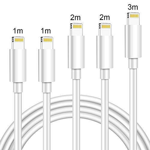Cable Lightning, CHCvictory Cable Cargador de iPhone 5 Piezas [1/1/2/2/3 M] - [Apple MFi Certificado] Cable de Carga Rápida para iPhone XS MAX X XR 8 7 6s 6 Plus SE 5 5s 5c, Blanco