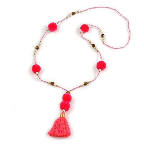 Avalaya - Collar largo con cuentas de cristal rosa neón, pompón, borla de 88 cm de largo y 10 cm de largo