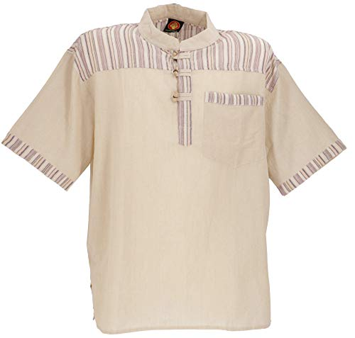 Guru-Shop Nepal Fischerhemd, Gestreiftes Goa Hippie Kurzarmhemd, Herren, Leinenfarben, Baumwolle, Size:XXL, Hemden Alternative Bekleidung