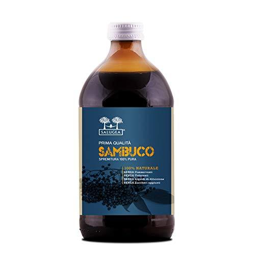 SUCCO DI SAMBUCO Salugea 0036 100% puro - Integratore fluidificante per le vie respiratorie, antiossidante, diuretico e depurante - 500 ml - Flacone in vetro scuro farmaceutico