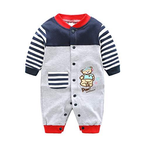 Baby Baumwolle Strampler Overall Jungen MäDchen Langarm Outfits Neugeborenes Karikatur Drucken Jumpsuit (Grau + Blau, 59)