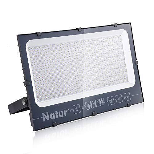 LED Foco Exterior de alto brillo, Impermeable IP66 Proyector Foco LED, Iluminación de Seguridad, para Patio Pared,Patio, Camino, Jardín (Blanco frío, 500W)