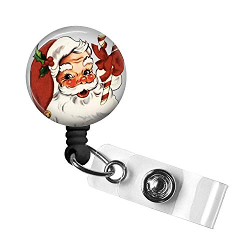 Santa Badge Reel, Christmas Retractable ID Tag, Badge Pull, Badge Holder with Swivel Alligator Clip, 34in. Nylon Cord, Medical MD RN Nurse Office Employee, Stocking Stuffer