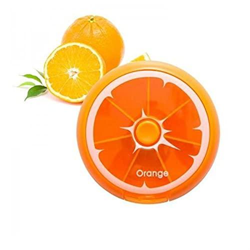 FENGNANMY Botiquin Portátil giratoria 7 Barras de píldoras de píldoras de Viaje Dispensador de Medicina Mini Fruta Color Almacenamiento Redondo Caja de Almacenamiento (Color : Orange)