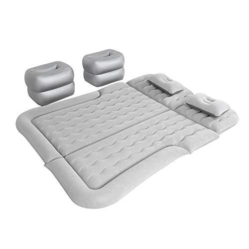Bediffer Accesorio para Acampar Flocado PVC Almohadilla para Dormir Colchón de Aire Suave Cama de Aire de Viaje Espesada para Exteriores Uso para SUV para Dormir(Gray)