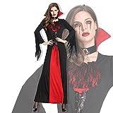TDHLW Disfraces de Halloween para Mujer, Falda Larga de Reina, Ropa de Pascua para Adultos, Disfraces de Vampiro y Diablo, Incluido el Vestido, decoración del Cuello,L