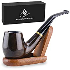Comes with a wooden pipe stand, it's foldable and easy to carry, you can feel free to sit the smoking pipe well on it, perfect to match up with your classical smoking pipe. Fits regular 9 mm filter, enjoy this pipe in your hand to create your own per...