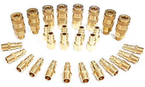 Tanya Hardware Pro High Flow Coupler & Plug Kit (28 Piece), V-Style, 1/4 in. NPT, Solid Brass Quick Connect Air Fittings Set