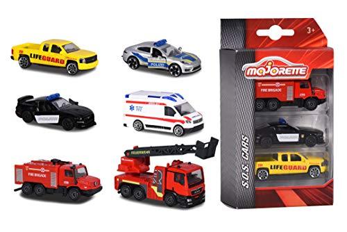 Majorette 212057261 - S.O.S. 3 Pieces Set, Set mit drei Autos, 7,5 cm