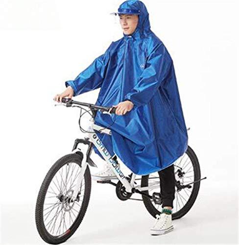ZXL Regenjas Duurzame Helm & Mouwen Regen Poncho Bike Waterdichte Cyclus Regen Cape Voor Outdoor Sport Camping, Wandelen, Vissen, Fietsen - Half Gezicht Cover Regenkleding (Kleur: Blauw, Maat : XXX-Large)