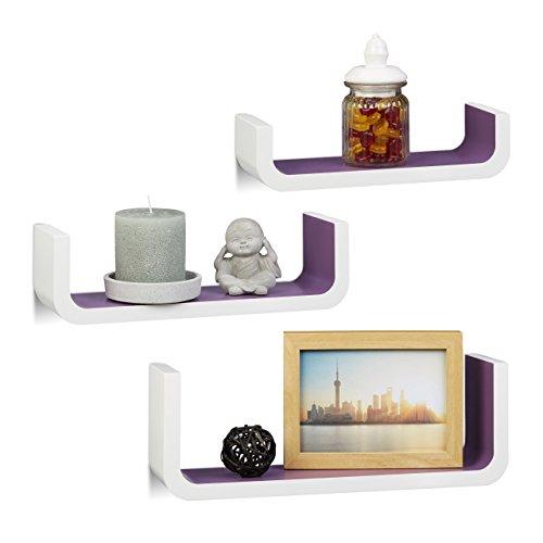 Relaxdays Wandregal 3er Set, U-form Wandboards für Deko, kleine Regalbretter 10 cm tief, bis 40 cm breit, weiß-violett